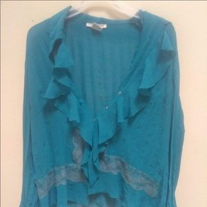 3/$15 notation sheer teal ruffle front blouse